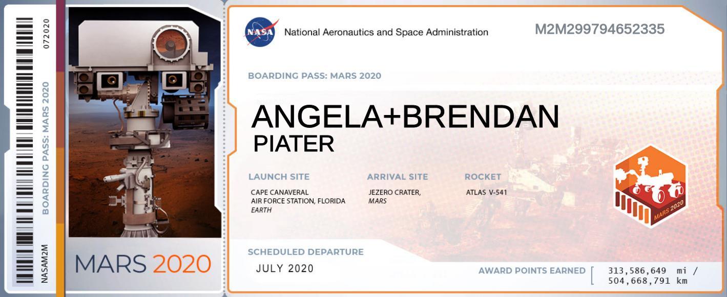 Boarding Pass: Mars 2020